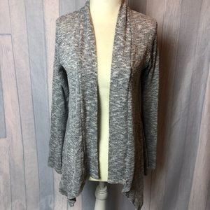Bobeau Gray Open Front Hi-Low Hem Cardigan Sweater